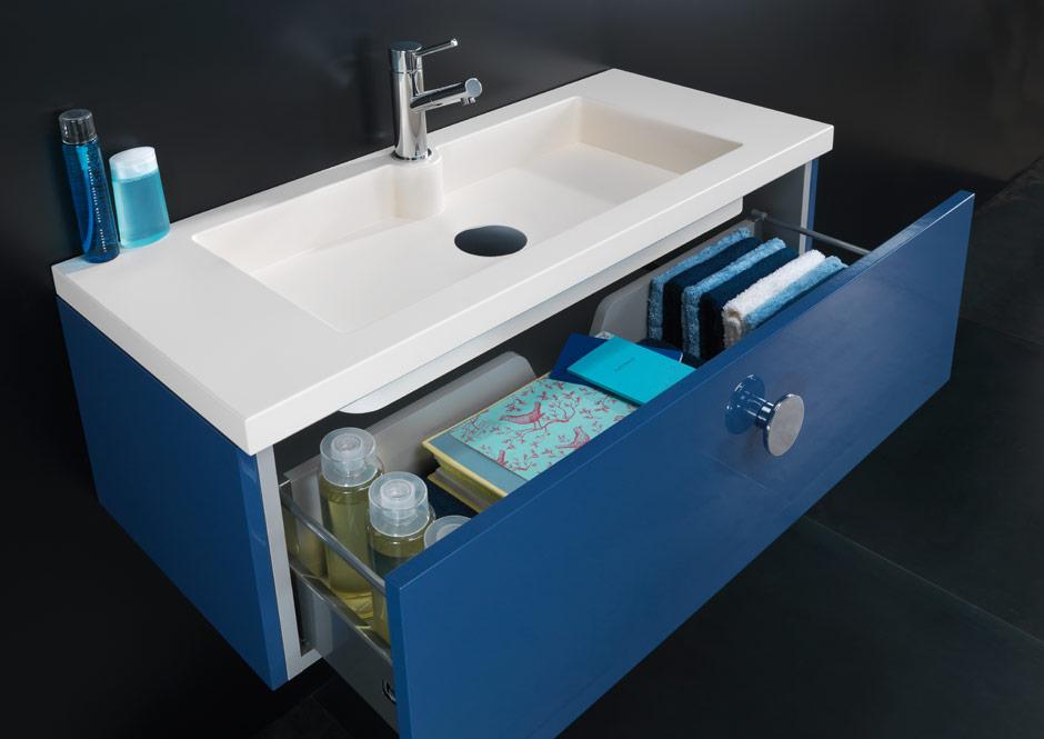 Mobilier de baie gri cu sertar, Pret-a-Porter